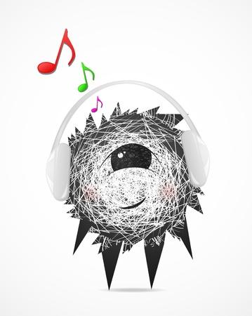 Fluffy listens to music on headphones Vector