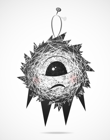 gallows: Fluffy is hanging on a nail Illustration