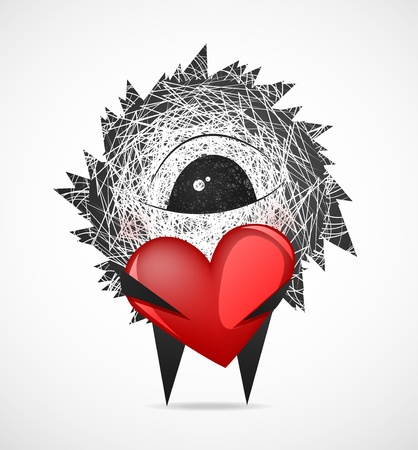 Fluffy keeps the heart on Valentine Vector