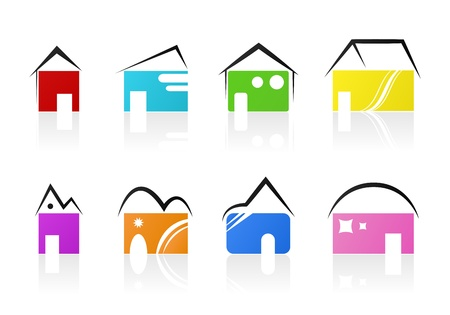 Eight creative colorful icons houses Stock Vector - 11969494