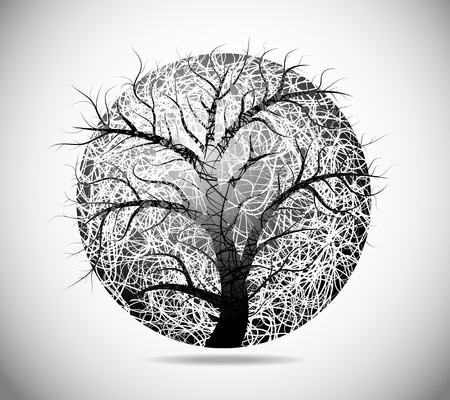 Magic abstract image of a sphere with the tree Vector