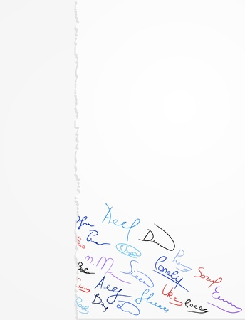 Signature multi-colored pens on paper Vector