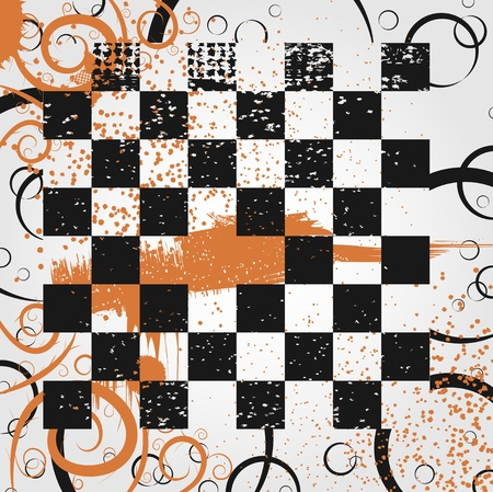chess board: Abstract background of a chess board in the grunge style Illustration
