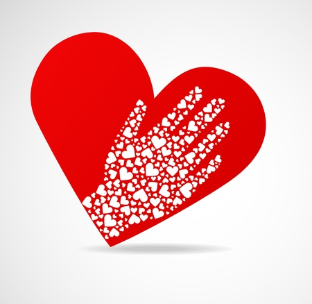 Image heart with a palm also from hearts (boundless love)