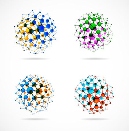 biologia molecular: Ajuste de las estructuras moleculares en forma de esferas Vectores