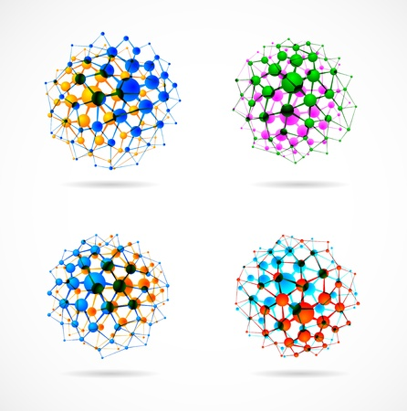 Set of molecular structures in the form of spheres Illustration