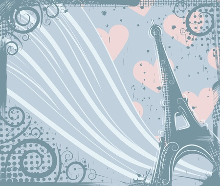 Abstract background in grunge style to the Eiffel Tower Vector