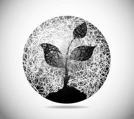 germinación: La imagen abstracta de la magia de una esfera a partir de la brotación