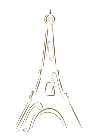 tourist: Sketch of the Eiffel Tower golden brush Illustration