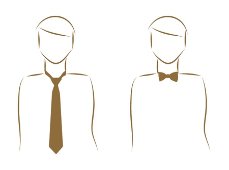 Sketch of man a tie and bow tie