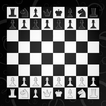 table surface: Chess board with figures for the game Illustration