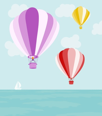 inflate: Illustration of big air balloons flying over the sea Illustration