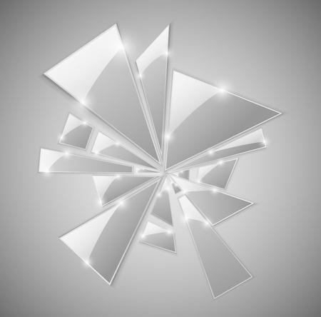 Driehoekige scherven van het gebroken glas.