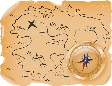carte tr�sor: Carte antique de tr�sors avec une boussole