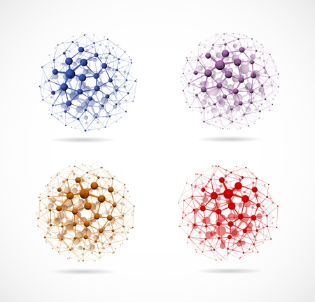 molecular structure: Set of colorful molecular structures in the form of a sphere.  Illustration