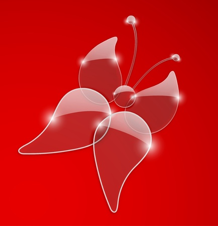Beautiful butterfly on a red background. Vector