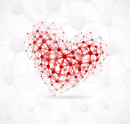 Image of the heart, consisting of molecular structure. Векторная Иллюстрация