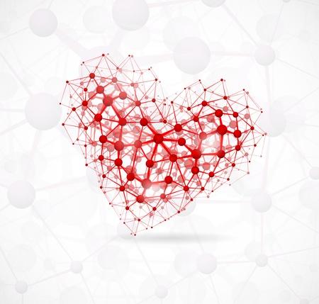 genetica: Immagine del cuore, costituito struttura molecolare.