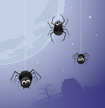 Illustration of three spiders on the background of a large moon and home Vector