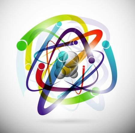 fizika: Absztrakt kép egy atom elektronok Illusztráció