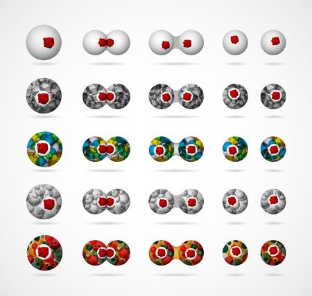 membrane cellulaire: Un ensemble de cellules biologiques abstraites, montrant le processus de division