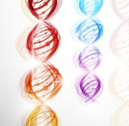 gene: Abstracte achtergrond met een kleurrijk beeld van het DNA-molecuul Stock Illustratie