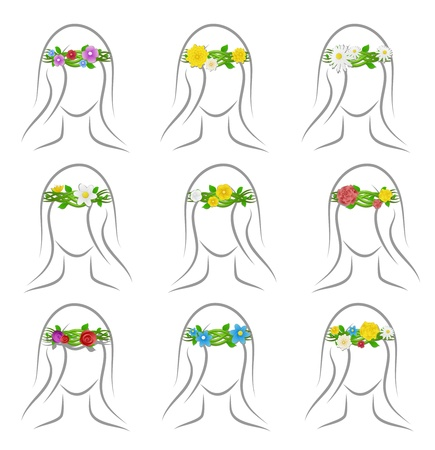 Different set of wreaths of flowers on her head girl Vector