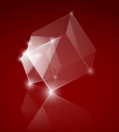 specular: cubos de vidrio sobre el fondo rojo Vectores