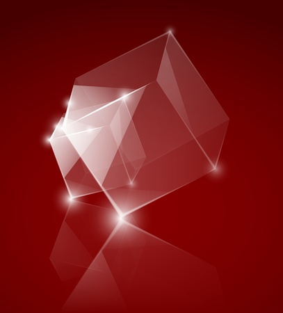 glass cubes on the red background Stock Vector - 12493258