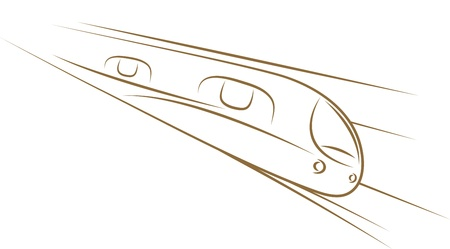 high speed railway: Sketch of high-speed train gold brush