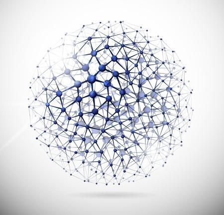 нано: Изображение молекулярную структуру в форме сферы Иллюстрация