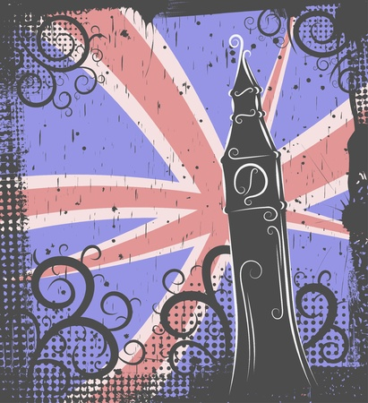abstract london: Background in grunge style to the Big Ben Illustration
