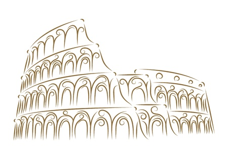 Sketch of the Coliseum golden brush Vector