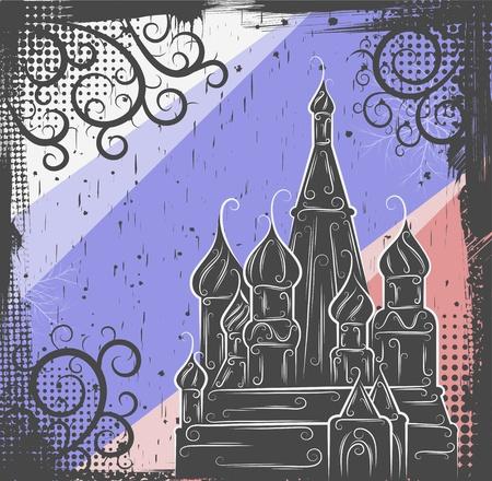 kremlin: Background in grunge style to the Saint Basil