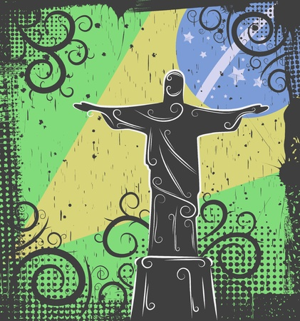 Background in grunge style to the Statue of Christ the Redeemer