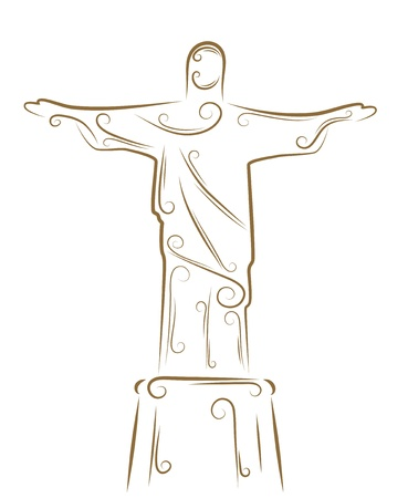 Sketch of the Statue of Christ the Redeemer golden brush Vector