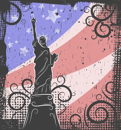 statue of liberty: Background in grunge style to the Statue of Liberty Illustration