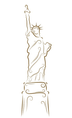 Sketch of the Statue of Liberty golden brush Vector
