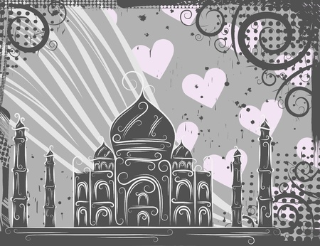 Background in grunge style to the Taj Mahal Vector