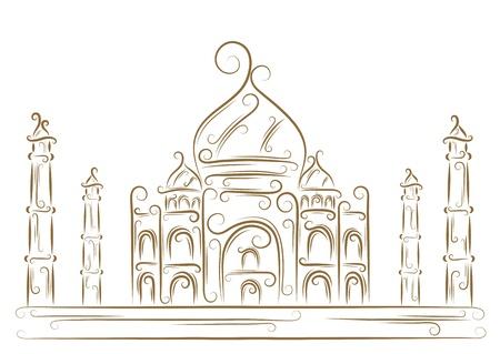 india city: Sketch del Taj Mahal pennello d'oro