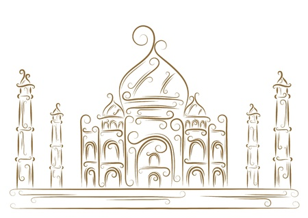 mausoleum: Sketch of the Taj Mahal golden brush
