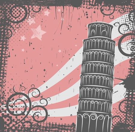 pisa: Achtergrond in grunge stijl naar de Toren van Pisa Stock Illustratie