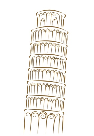 pisa tower: Sketch of the Tower of Pisa golden brush
