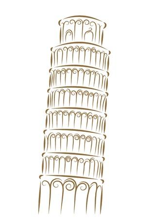 Szkic Wieża w Pizie złotym pędzlem Ilustracje wektorowe