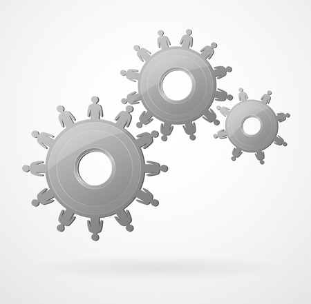 Creative image of the mechanism with the people, depicting a successful team work Vector