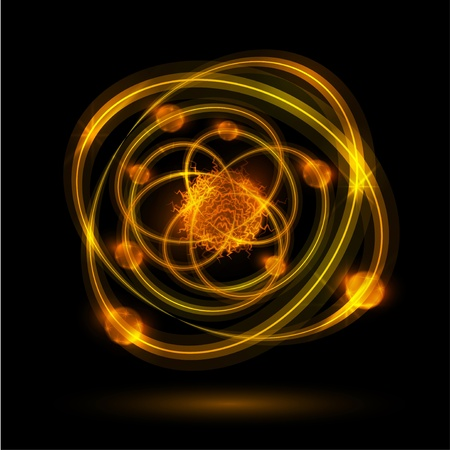 atoms: Abstract image of an atom with electrons on a black background  Eps 10