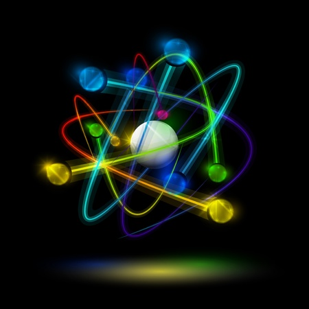 Abstract image of an atom with electrons on a black background  Eps 10 Stock Vector - 12834195
