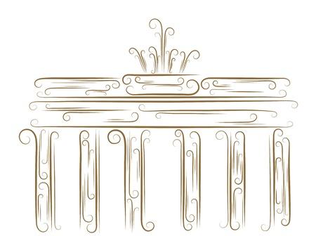 Sketch of the Brandenburg Gate golden brush Vector
