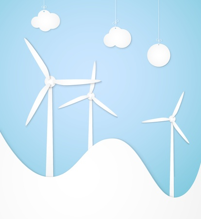 Windmills, lined paper, an alternative energy source Vector