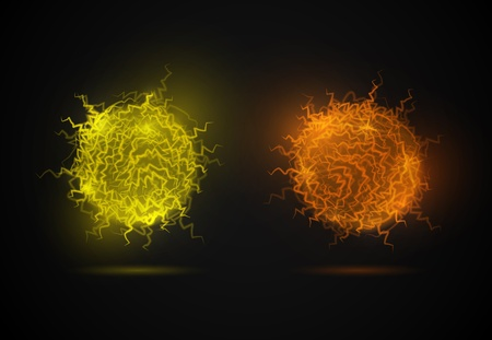 Ball of energy from lightning  Fireballs  on a black background  Eps 10 Vector